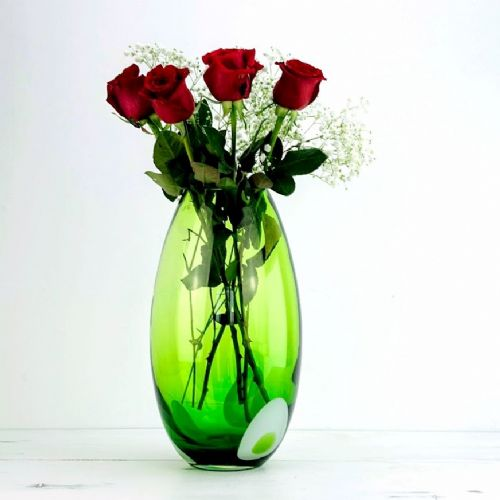 Large Glass Bouquet Vase 36cm Dot